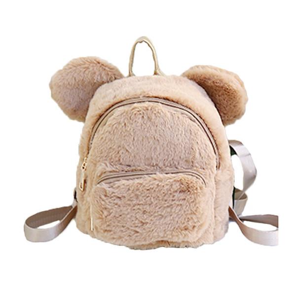 Wobag 2018 Faux Fur Fleece Kids Girls Children School Kindergarten Shoulder Backpack Cute Bear Ears Mini Backpack