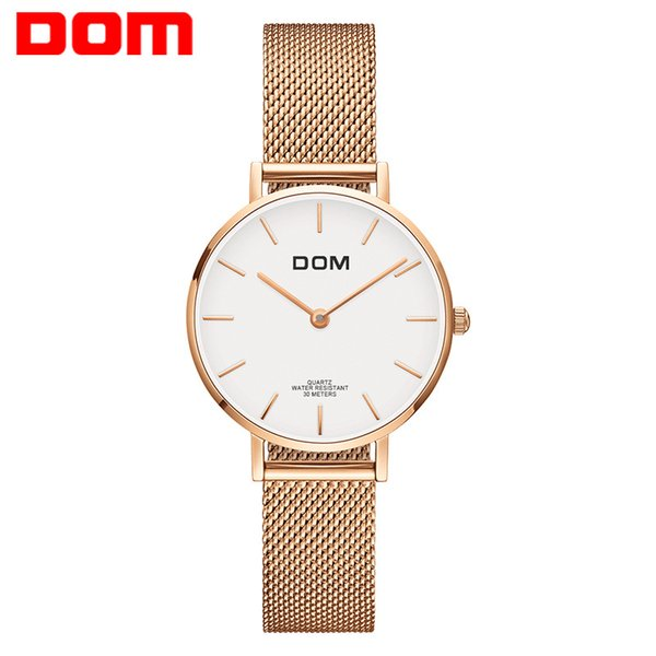 Authantic Gold Quartz watches OEM acceptable gifts to girls laies women DOM brand fashion waterproof ladies table wristwatches free shipping