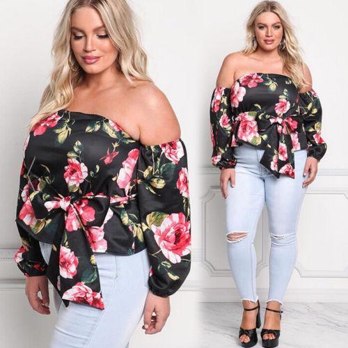 Sıcak Moda 2017 Yaz Kadın Çiçek Casual Gevşek Bluz Kapalı Omuz Seksi Baskı Gömlek Plus Size Tops