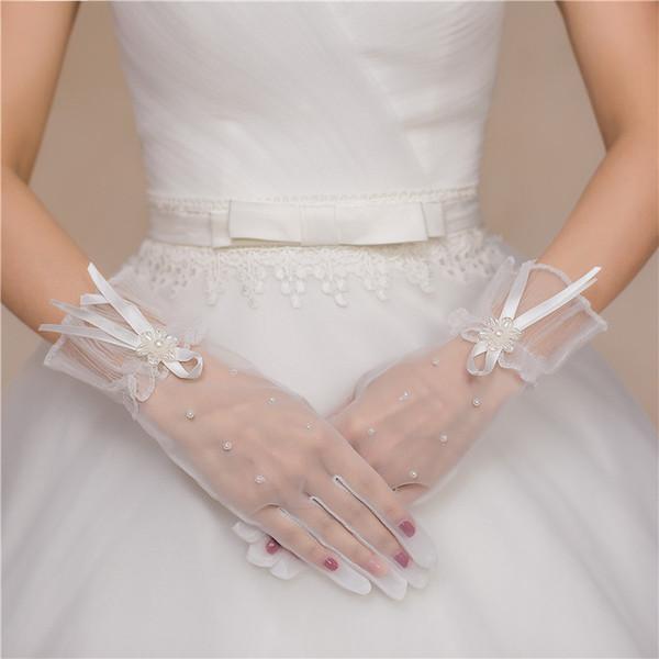 2019 new bride wedding gloves long Korean five finger lace white wedding dress lace accessories