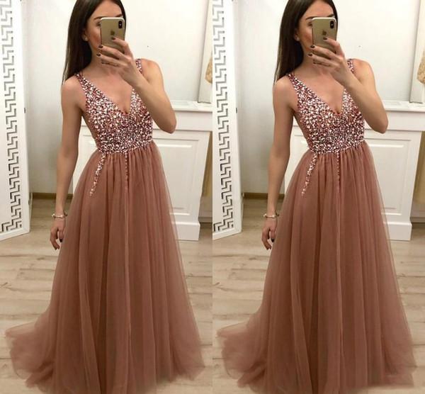 2019 Arabric Sexy Prom Dresses Deep V-Neck Beads Sweep Train Crystals Vestidos De Fiesta A Line Party Evening Gowns Special Occasion Dresses
