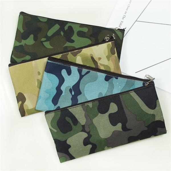 Camouflage Cosmetic Bag Bleistiftbeutel Jungen Mädchen Stift Aufbewahrungskoffer Camo Zip Pouch Kosmetik Pinselhalter Makeup Organizer 4styles