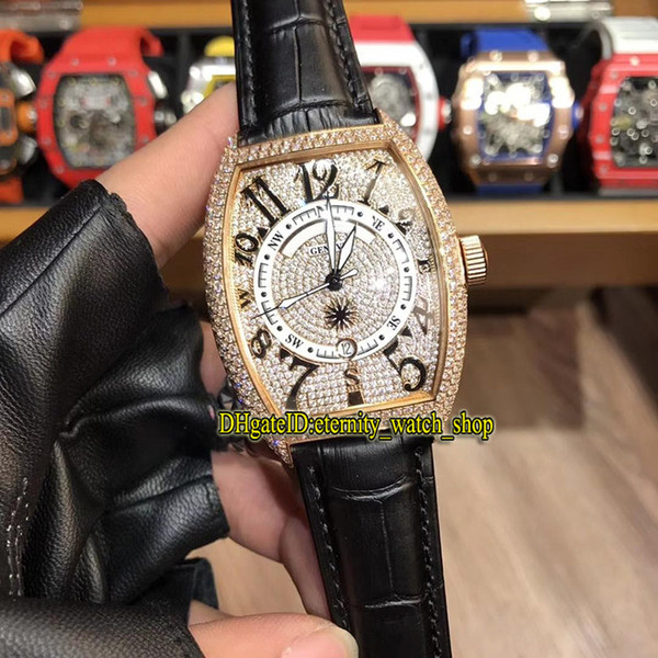 Luxry New MARINER 8080 CC MAR Diamond Date Dial Japan Miyota Automatic Men's Watch Rose Gold Diamond Case Black Leather Strap Sport Watches
