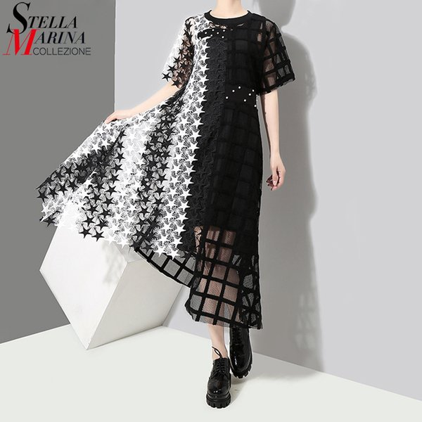 New 2019 Women Summer Black Long Lace Dress Short Sleeve Hollow Out Night Party Sexy Club Asymmetrical Dresses Robe Femme 3517 Q1904011