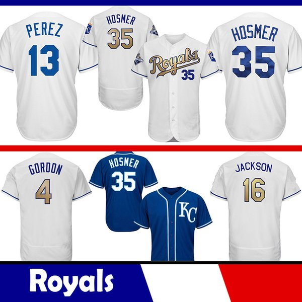 separation shoes 9410c e583c 2019 Kansas City Royals 13 Salvador Perez Jersey 35 Eric Hosmer Jersey 16  Bo Jackson 4 Alex Gordon 5 George Brett Majestic Coolbase Jersey From ...