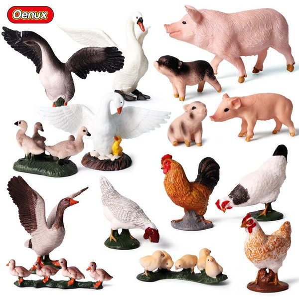 enux Farm Animal Duck Family Model Action Figures Lovely Pig Goose Figurines High Quality Education Collection Toys For Kids Oenux Farm A...