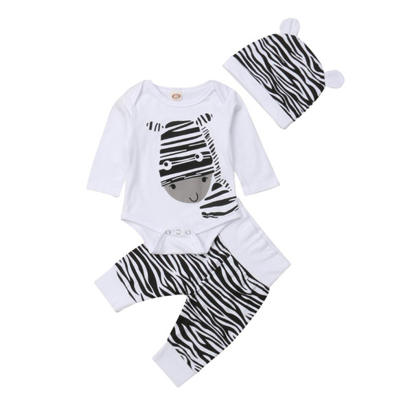 3PCS Newborn Baby Girl Boy Zebra Clothes Romper Long Sleeve Playsuit Pants Hats Outfits Clothes Set