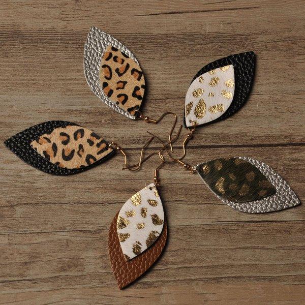Sıcak Leopar deri küpe Yeni Tasarımcı Gerçek deri küpe Avrupa ve Amerikan leopar çift katmanlı küpe bırakır