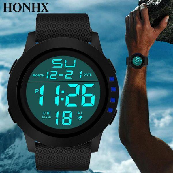 4f041ba0b7f6 2019 NUEVA Moda Impermeable Hombre Boy LCD Digital Cronómetro Fecha Caucho Reloj  Deportivo Luminoso uxury Marcas