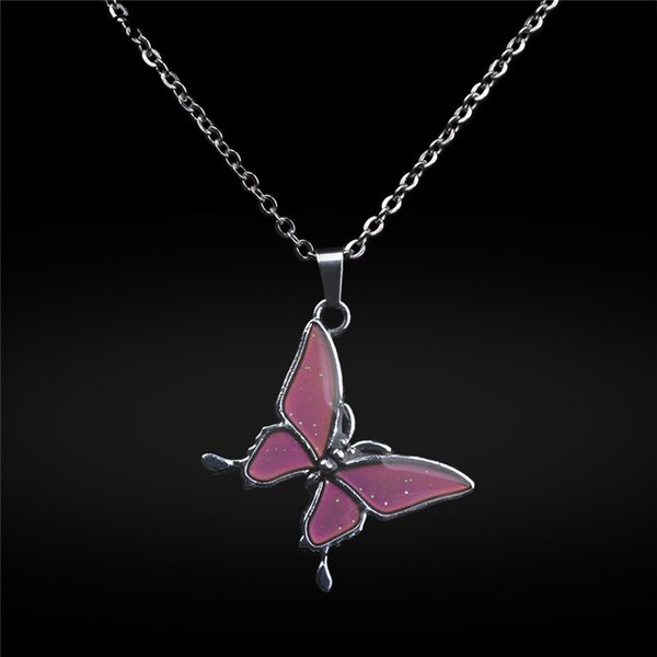 Girl Long Chain Fashion Temperature Control Color Change Butterfly Pendant Necklace Stainless Steel Chain Necklaces for Women A3