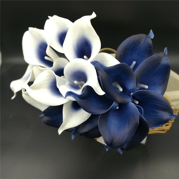 Navy Blue Picasso Calla Lilies Real Touch Flowers For Wedding Bouquets Centerpieces artificial flowers for wedding C18112601