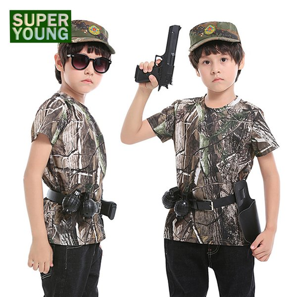 Tactical Uniform Kids Boys Camouflage Hunting Clothing Men Jungle Hunting T-shirts Children Outdoor Summer Army Clothes