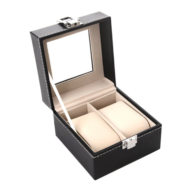 2 Slots Organizer Jewelry Dispay Lock Closure Bracelet Holder Storage Professional Rings Gift Faux Leather Protective Watch Box