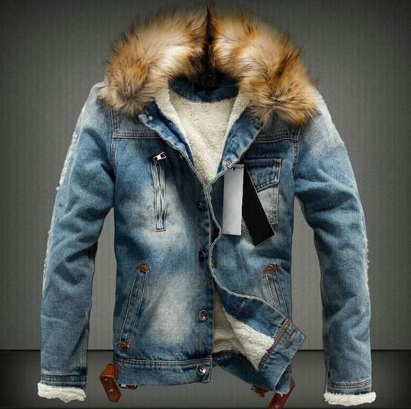Мужской мытого зима Жан куртка Осень Толстого Мех Дизайнер пальто с длинными рукавами однобортного пиджака