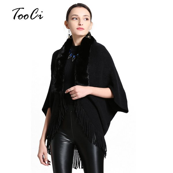 Spring And Autumn Womens Fashion Fake Fox Fur Collar Cashmere Sweater Poncho Women Long Thick Knitted tassel Cardigan Capes