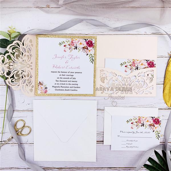 best selling Romantic Blush Pink Spring Flower Glittery Laser Cut Pocket Wedding Invitation Kits, Free Shipped by UPS