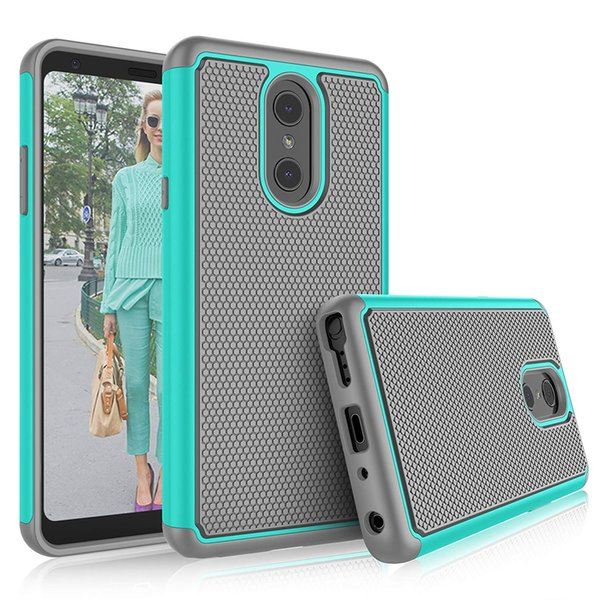 For LG G3 G4 G5 Tribute Stylo Plus Phoenix V40 Volt 3 Shock Absorbing Plastic Outer Rubber Silicone Inner Protective Cover Case