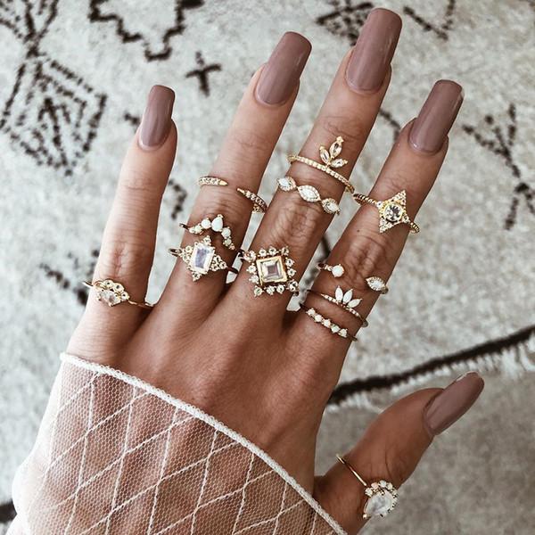 12pcs/Set Women Bohemian Vintage Silver Stack Rings Above Knuckle Blue Rings Set for women Elegant Temperament Accessories