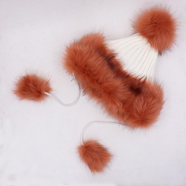 Vendita calda donne di lusso del progettista del cappello di pelliccia di Fox sfera Cappello imitazioni Cappelli di paglia donne rivestono di pelle spessa inverno cappello della sfera caldo Knit pelliccia
