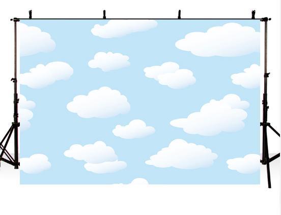 7x5FT Baby Light Blue Sky Cartoni animati Nuvole bianche Cielo Summer Day Sfondi fotografici personalizzati Fondali in studio Vinile 220cm x 150cm