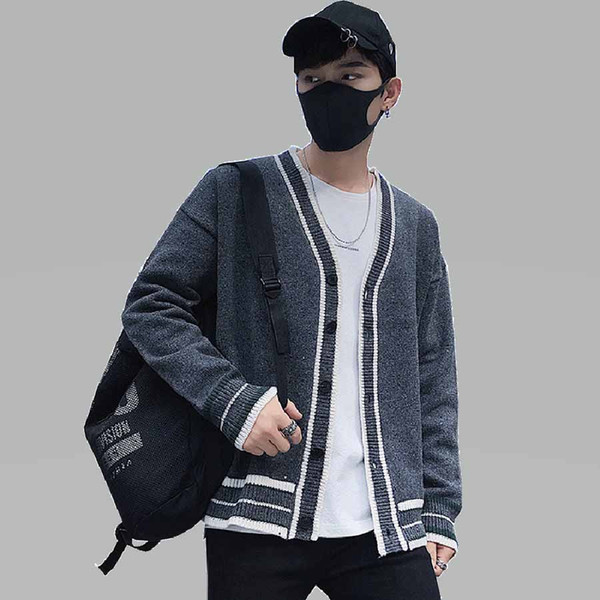 Korean Winter Sweater Jacket Men Vintage Button Long Cardigan Male Cashmere Knitted v Neck Thick Varsity College Sweater Men