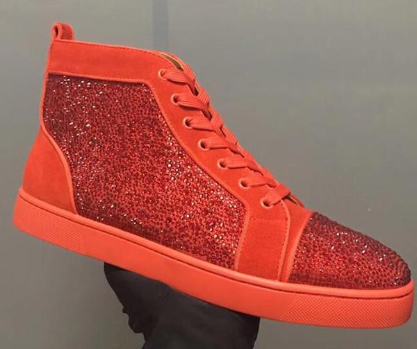 Popüler Erkek ve kadınlar unisex ayakkabı Kırmızı Alt Sole Sneakers Parti Düğün Ayakkabı Gerçek Deri Yüksek üst Çivili Dikenler S C22