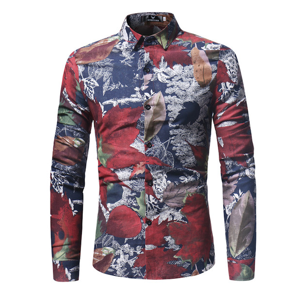 Fashion Spring Casual Men Shirt Slim Fit Flower Print Linen Shirt Long-sleeved Shirts Male Floral Social Masculina M-3XL Top Quality