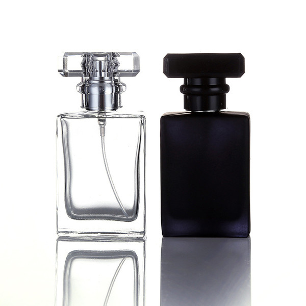 top popular 30ML Clear Black Portable Glass Perfume Spray Bottles Empty Cosmetic Containers With Atomizer For Traveler Free DHL 2021