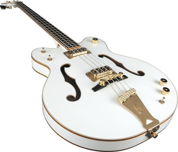 top popular HOT Sale Custom Semi Hollow Body F Hole White 4 Strings Electric Bass, Gold Hardware, Metallic Gold Sparkle Body Binding, Trapeze Tailpiece 2021