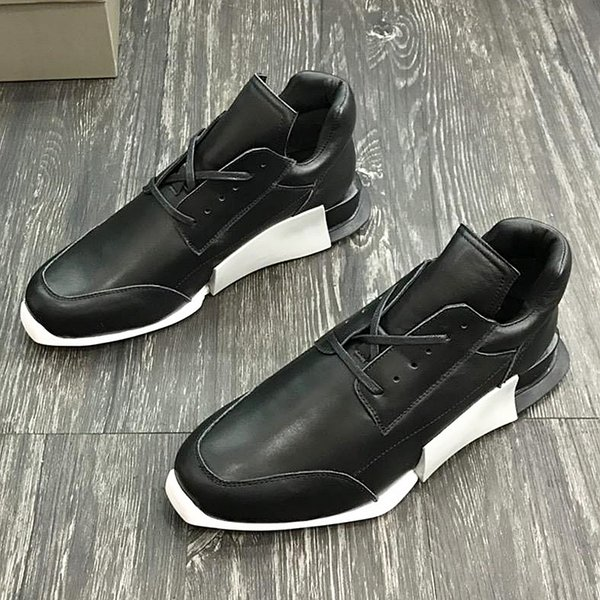 2018 American luxury brand trend men's sports shoes with exquisite outsole leather strap design high-grade outdoor casual running qy