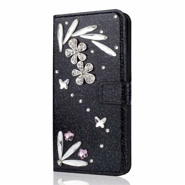 Feather Bling Wallet case for Apple iPhone XS Max/XR 8/7/6/5S Plus Flip Kickstand Bumper for Galaxy S9 S9+ S8 S8+ Women Girls