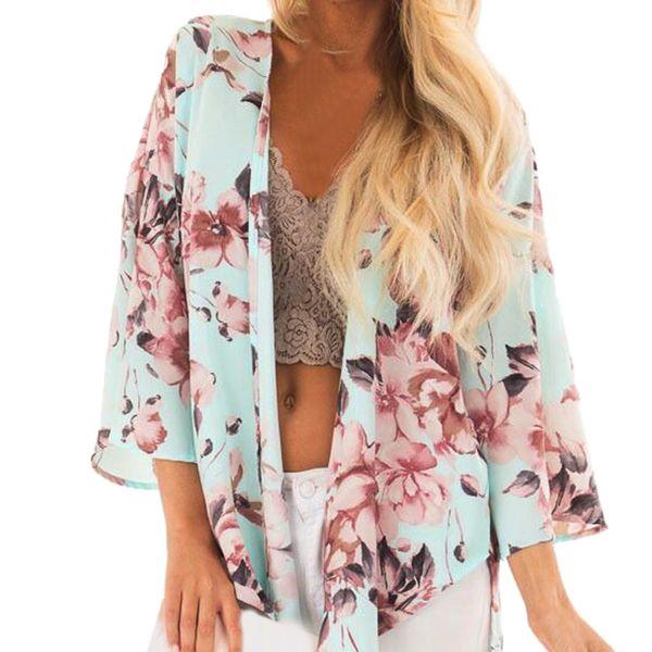 Damen Tops und Blusen Grüner Blumendruck Langarm-Bluse Frauen Streetwear 2019 Frauen Tops V-Ausschnitt Damen Top und Blusen