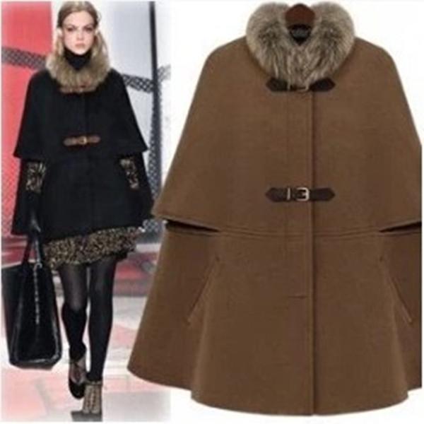 autumn winter new cape wholesale hot real raccoon fur collar cape coat long coat Cashmere Wool Coat Jacket Wool Poncho