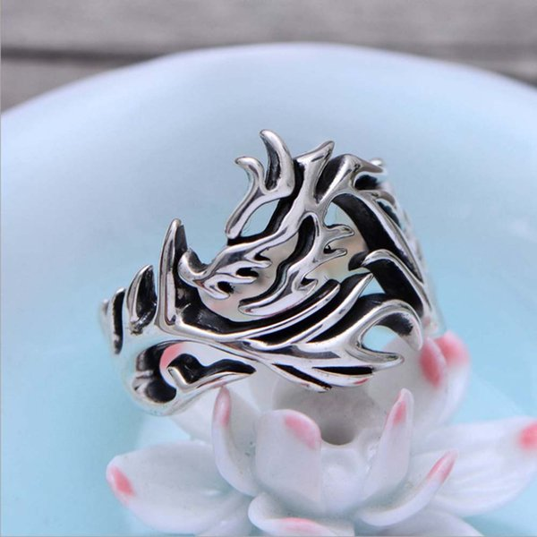 Fashion Antique 925 Sterling Silver Dragon Design Chinese National Style Band Ring for Men and Women