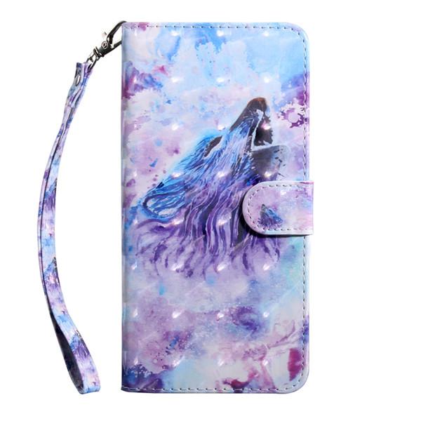 3D carteira de couro lobo case para iphone 11 5.8 6.5 6.1 2019 samsung note 10 note10 pro flor tigre coruja lace slot id magnética cobertura de luxo
