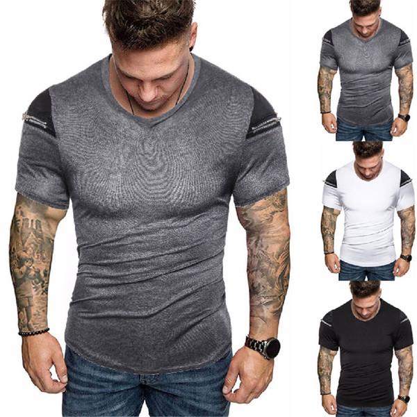 T-shirt da uomo estate tinta unita con cerniera o collo manica corta da uomo Tops Fashion Skinny Teenager Tees
