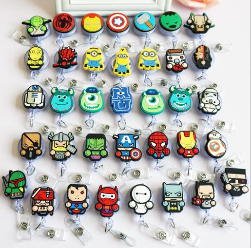 Superhero Design Nurse Retractable Badge Reel Pull ID Card Badge Holder Belt Clip Hospital School Office