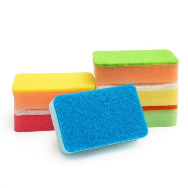 Wholesale Colorful Magic Wipe Dish Sponge Kitchen Clean Scouring Cloth Dish Washing Sponge Kitchen Cleaning Tools
