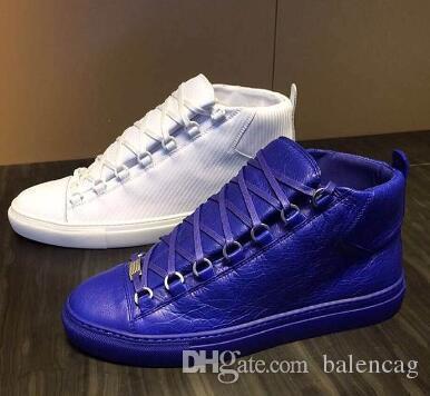 Имя Марка Высокое Качество Человек Повседневная Обувь Плоским Kanye West Мода Морщинистая Кожа на шнуровке Высокий Верх Мужской Arena Shoes Runaway Тренер Размер 46