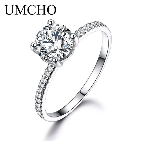 Umcho 925 Silver Sterling Bridal Cubic Zircon Rings For Women Solitaire Engagement Wedding Party Brand Fine Jewelry