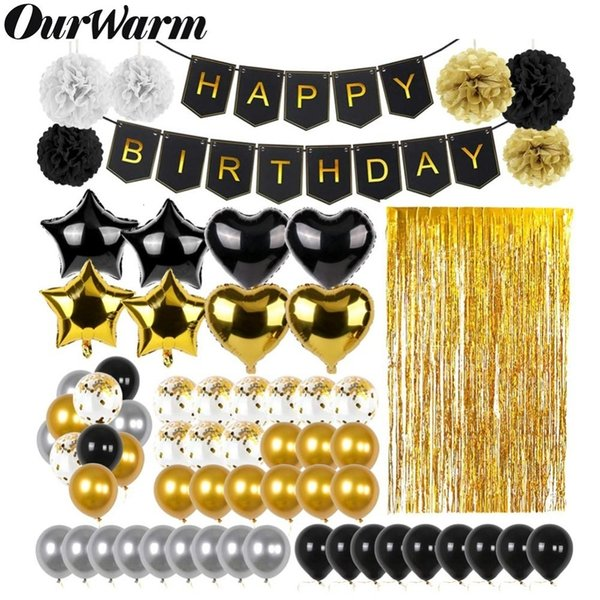 OurWarm 51Pcs Birthday Party Decorations Set Black Gold Happy Birthday Banner Balloons Paper PomPoms Foil Tinsel Fringe Curtain CJ191203