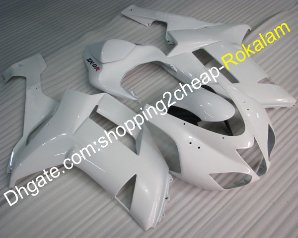 Motorcycle Cowling 2007 2008 ZX6R Motorbike Body Fit For Kawasaki Ninja 636 ZX-6R 07 08 ZX 6R ZX-6R White Fairing Kit (Injection molding)