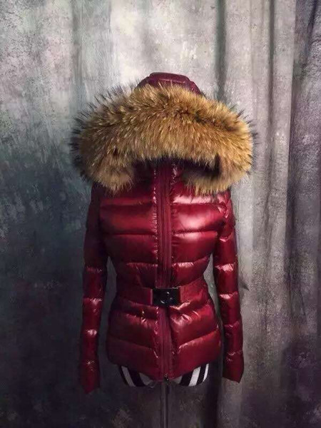 Женская куртка зима теплое пальто утолщение Женская одежда настоящий енот меховой воротник Тэти пуховик с капюшоном пуховик