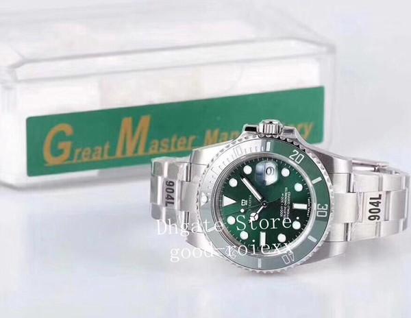 Men's Green Ceramic Bezel GM Factory 904L Steel Watches Mens Automatic Cal.3135 Watch Men Dive 116610 Eta Chronometer Perpetual Original Box