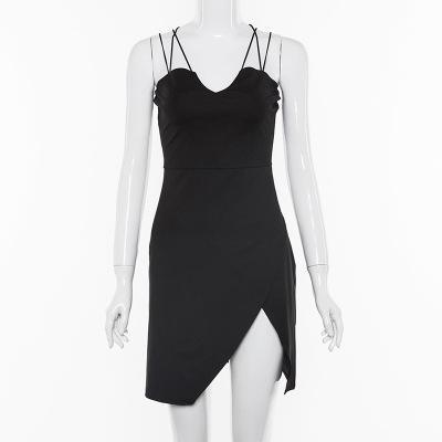 Femmes Sexy Robes dos ouvert vente chaude robes V-cou Sling courtes robes noires Slim Mode Femme Vêtements