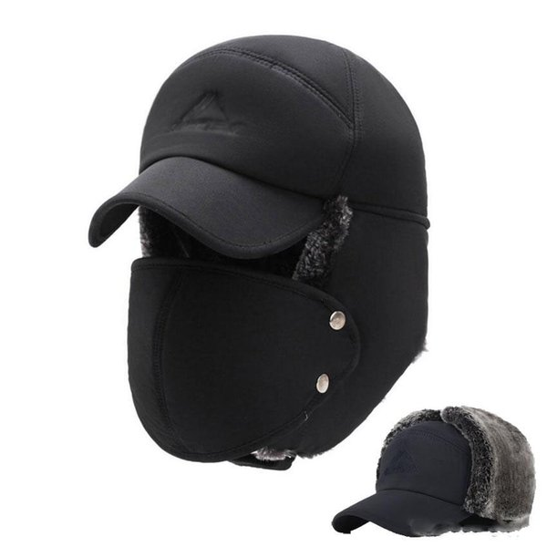 Mens Winter Hats Ear Flaps Bomber Hats With Brim And Face Mask Warm Hat For Men Russian Waterproof Ski Cap Male Accessories