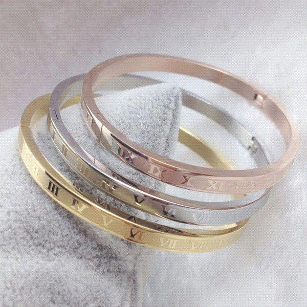 Bracelets de manchette Vintage chiffre romain pour les femmes Bracelets en acier inoxydable polonais haute Bracelet cadeau femme or rose / argent / or
