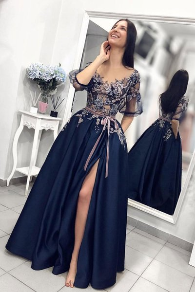 Navy Blue Evening Gowns Elegant Applique Turkey Evening Dress With Half Sleeve Sexy High Slit Prom Dress Formal Graduation Dress Cheap 2019