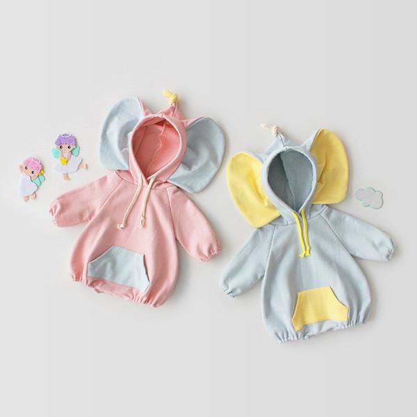 Cute Baby Boy Girl Elephant Ears con cappuccio Pagliaccetto Tute Manica lunga Outwear 100% Cotone Morbido abbigliamento bambino 2019 Primavera Autunno vendita calda