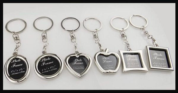 6 styles Photo Frame Round Heart Apple Oval Rhombus Shape Metal Keychain Key Chain Keyring Car Keychain Couples Keyring Gift MFJ641